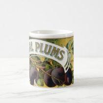 Vintage Fruit Crate Label Art, Imperial Plums Coffee Mug