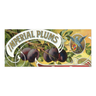 """Vintage Fruit Crate Label Art, Imperial Plums 4"""" X 9.25"""" Invitation Card"""