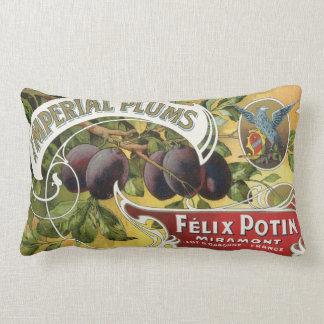 Vintage Fruit Crate Label Art, Imperial Plums Pillows