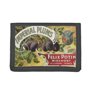 Vintage Fruit Crate Label Art, Imperial Plums Trifold Wallet