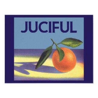 "Vintage Fruit Crate Label Art, Juciful Oranges 4.25"" X 5.5"" Invitation Card"