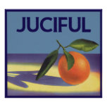 Vintage Fruit Crate Label Art, Juciful Oranges Poster