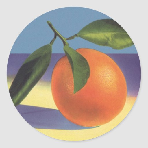 Vintage Fruit Crate Label Art, Juciful Oranges Round Sticker