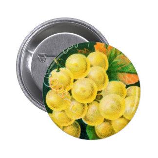 Vintage Fruit Crate Label Art, Muscat Grapes Pinback Button