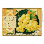 Vintage Fruit Crate Label Art, Muscat Grapes Card