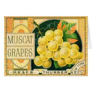 Vintage Fruit Crate Label Art, Muscat Grapes Card