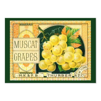 "Vintage Fruit Crate Label Art, Muscat Grapes 5"" X 7"" Invitation Card"