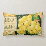 Vintage Fruit Crate Label Art, Muscat Grapes Throw Pillow