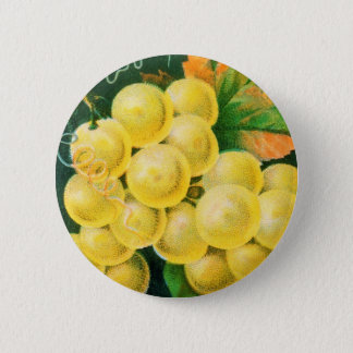 Vintage Fruit Crate Label Art, Muscat Grapes Pinback Button