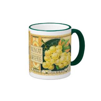 Vintage Fruit Crate Label Art, Muscat Grapes Ringer Mug