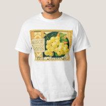 Vintage Fruit Crate Label Art, Muscat Grapes T-Shirt