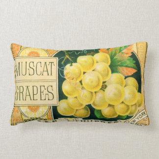 Vintage Fruit Crate Label Art, Muscat Grapes Throw Pillow