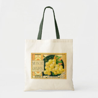 Vintage Fruit Crate Label Art, Muscat Grapes Tote Bag
