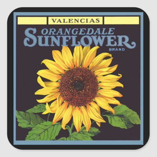 Vintage Fruit Crate Label Art Orangedale Sunflower