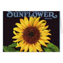 Vintage Fruit Crate Label Art Orangedale Sunflower