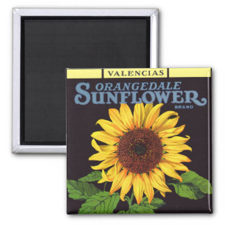 Vintage Fruit Crate Label Art Orangedale Sunflower 2 Inch Square Magnet