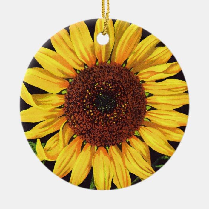 Vintage Fruit Crate Label Art Orangedale Sunflower Ceramic Ornament