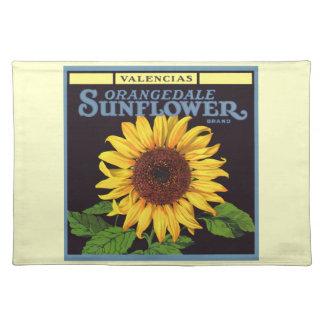 Vintage Fruit Crate Label Art Orangedale Sunflower Cloth Placemat