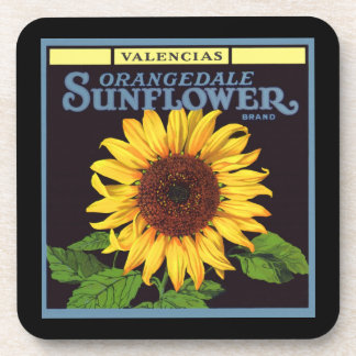 Vintage Fruit Crate Label Art Orangedale Sunflower Drink Coaster