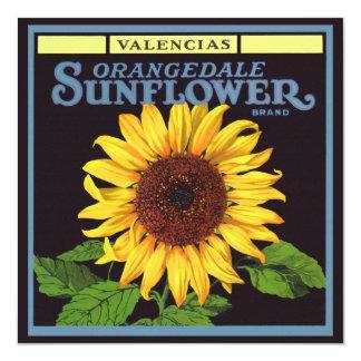 "Vintage Fruit Crate Label Art Orangedale Sunflower 5.25"" Square Invitation Card"