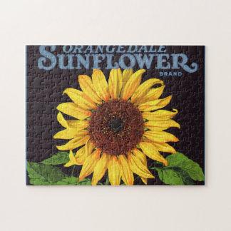 Vintage Fruit Crate Label Art Orangedale Sunflower Jigsaw Puzzle