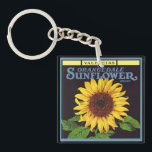 "Vintage Fruit Crate Label Art Orangedale Sunflower Keychain<br><div class=""desc"">Vintage illustration fruit crate label art for Orangedale Sunflower brand Valencia oranges. Retro fruit crate label featuring a large yellow blooming garden sunflower flower.</div>"