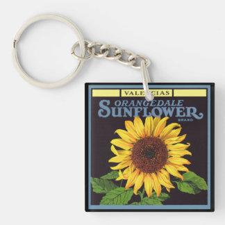 Vintage Fruit Crate Label Art Orangedale Sunflower Keychain