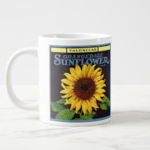 Vintage Fruit Crate Label Art Orangedale Sunflower Large Coffee Mug