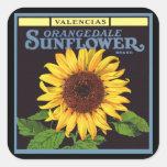Vintage Fruit Crate Label Art Orangedale Sunflower Square Stickers