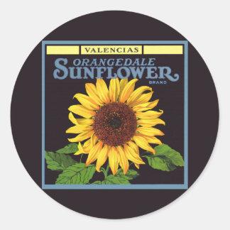 Vintage Fruit Crate Label Art Orangedale Sunflower Round Sticker