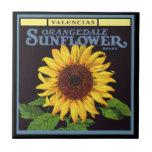 Vintage Fruit Crate Label Art Orangedale Sunflower Small Square Tile