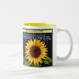 Vintage Fruit Crate Label Art Orangedale Sunflower Two-Tone Coffee Mug
