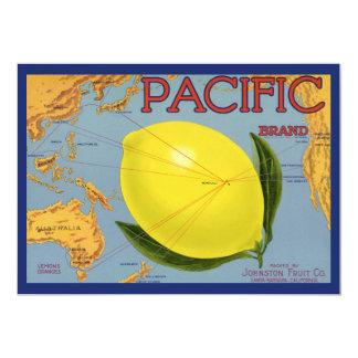 """Vintage Fruit Crate Label Art Pacific Citrus Lemon 5"""" X 7"""" Invitation Card"""