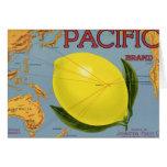 Vintage Fruit Crate Label Art Pacific Lemon Citrus Card