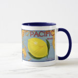 Vintage Fruit Crate Label Art Pacific Lemon Citrus Mug