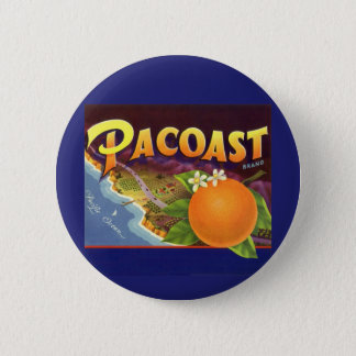 Vintage Fruit Crate Label Art, Pacoast Oranges Button