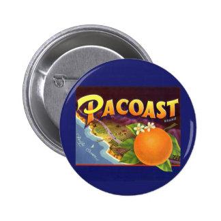 Vintage Fruit Crate Label Art, Pacoast Oranges Pinback Buttons