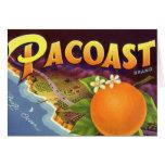 Vintage Fruit Crate Label Art, Pacoast Oranges Card