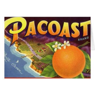 Vintage Fruit Crate Label Art, Pacoast Oranges Greeting Card