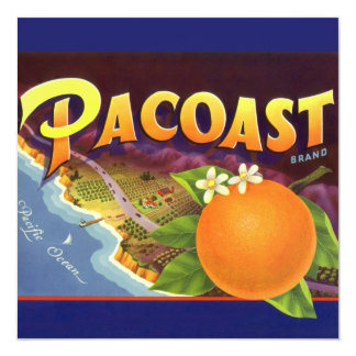 "Vintage Fruit Crate Label Art, Pacoast Oranges 5.25"" Square Invitation Card"