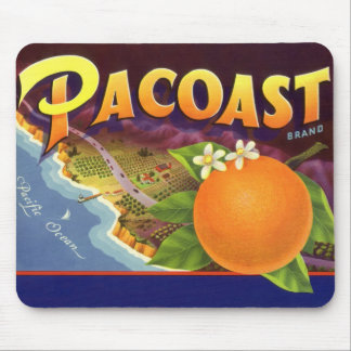 Vintage Fruit Crate Label Art, Pacoast Oranges Mouse Pad