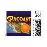Vintage Fruit Crate Label Art, Pacoast Oranges Postage Stamp