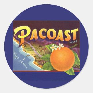 Vintage Fruit Crate Label Art, Pacoast Oranges Classic Round Sticker