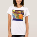 Vintage Fruit Crate Label Art, Pacoast Oranges T-Shirt