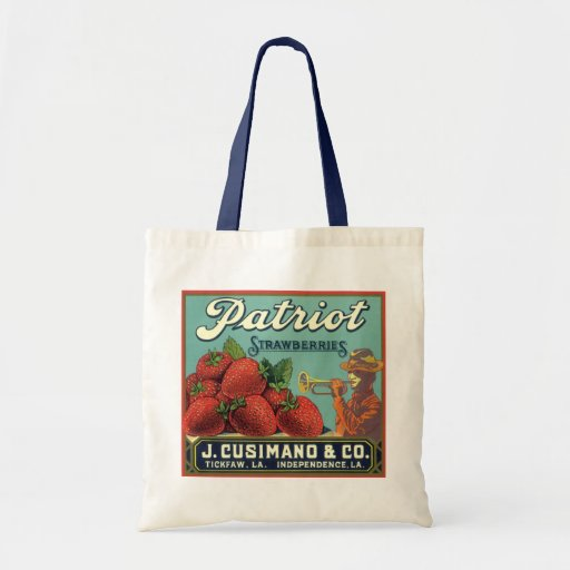 Vintage Fruit Crate Label Art Patriot Strawberries Budget Tote Bag