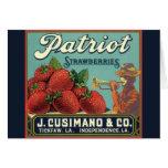 Vintage Fruit Crate Label Art Patriot Strawberries Card