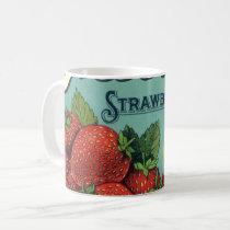 Vintage Fruit Crate Label Art Patriot Strawberries Coffee Mug