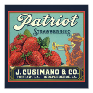 "Vintage Fruit Crate Label Art Patriot Strawberries 5.25"" Square Invitation Card"