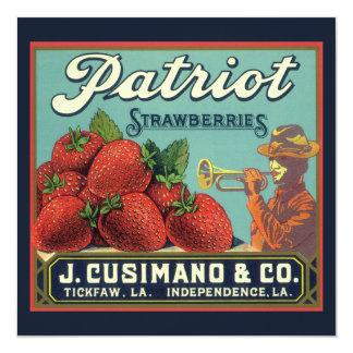 Vintage Fruit Crate Label Art Patriot Strawberries 5.25x5.25 Square Paper Invitation Card