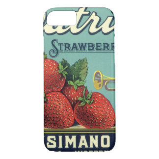 Vintage Fruit Crate Label Art Patriot Strawberries iPhone 8/7 Case